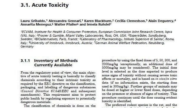 acute toxicity alternative non animal methods for cosmetic testing
