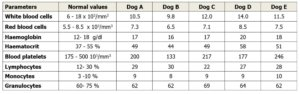Canine whole blood parameters